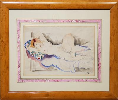 Emil Ganso A Female Nude Watercolor Signed By Emil Ganso