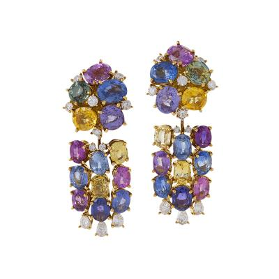 Emil Meister Meister Swiss Late 20th Century Sapphire Diamond and Gold Earrings