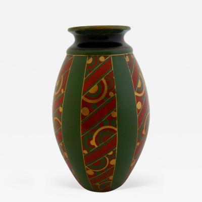 Emile Lombart Monumental Faience Art Deco Vase by Emile Lombart for St Ghislain