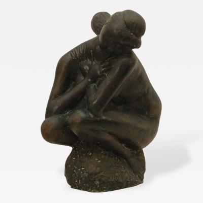 Emilio Greco Cast Bronze Figura Accolata by Emilio Greco