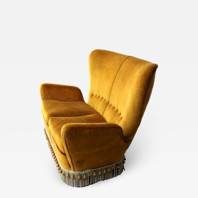 Emilio Sala e Giorgio Madini Sala Madini Sala Madini for Galimberti Cantu Small Sofa 1950s Fully Restored Gold Velvet