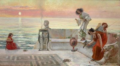 Emilio Vasarri Large Academic style oil painting by Emilio Vasarri