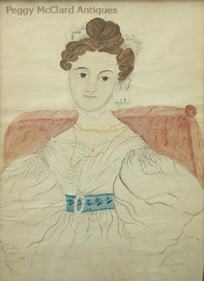 Emily Eastman Antique American Folk Art Watercolor Portrait of Lady in White by Emily Eastman