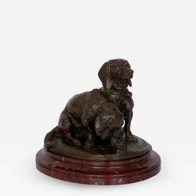 Emmanuel Fremiet French Antique Bronze Sculpture of Basset Hounds by E Fremiet Barbedienne
