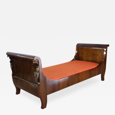 Empire Bed with Caryatides Walnut Veneer Austria circa 1815
