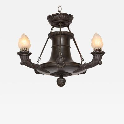 Empire Bronze Three Light Chandelier