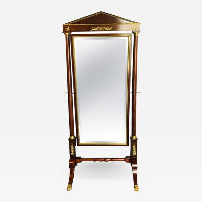 Empire Cheval Floor Full Length Mirror with Bronze Mounts 19th 20th Century