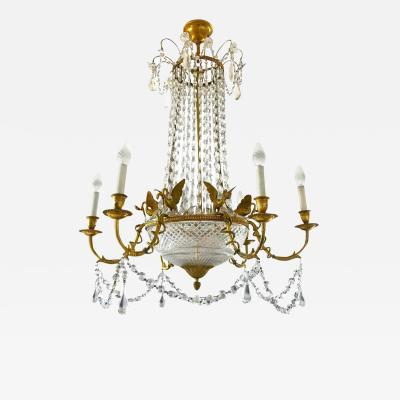 Empire Gilt Bronze and Cut Crystal Chandelier circa 1815