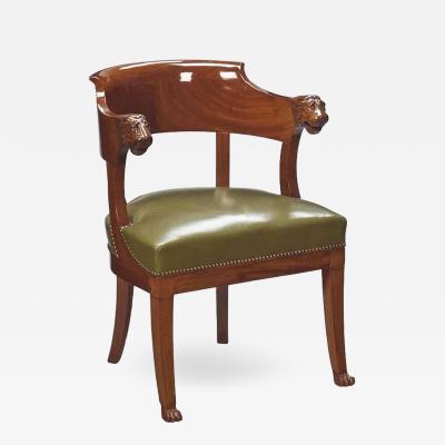 Empire Mahogany Desk Chair Early 19th Century