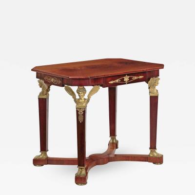 Empire Mahogany Winged Figural Center Table circa 1830