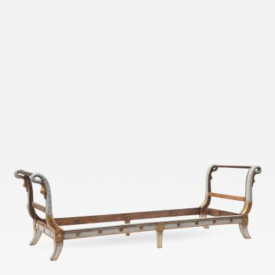 Empire Period Gray Painted and Parcel Gilt Daybed Sofa