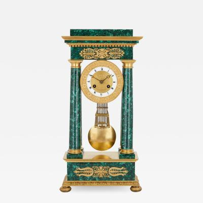 Empire Period Neoclassical Malachite and Gilt Bronze Mantel Clock