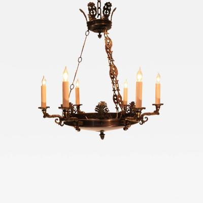 Empire Style Brass Six Light Chandelier