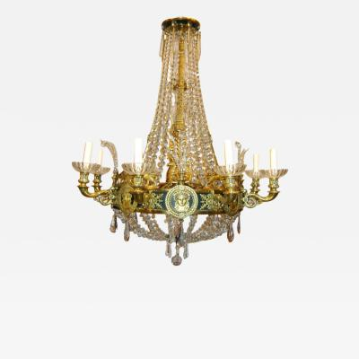 Empire Style Bronze and Crystal Chandelier