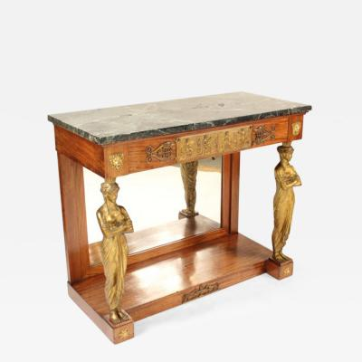 Empire Style Gilt Bronze Mounted Mahogany Console Table