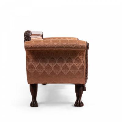 Empire Style Mahogany Sofa with Peach Upholstery
