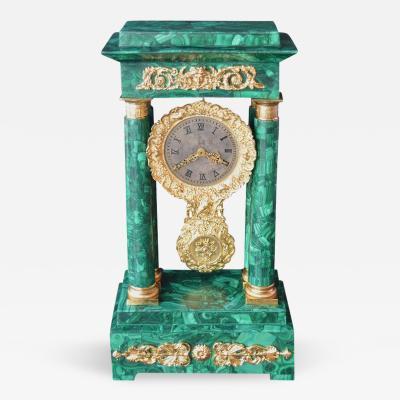 Empire Style Malachite Clock with Dore Bronze