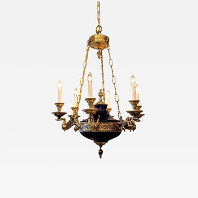 Empire Style Six Light Cobalt and Gold Chandelier Circa 1970 Continental