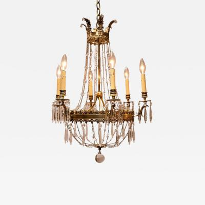 Empire Style Six Light Gilt Bronze and Crystal Chandelier