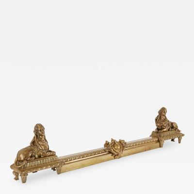 Empire style gilt bronze antique French fireplace fender