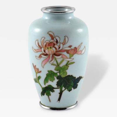 Enamel Cloisonn Vase with Chrystanthemums Japan c 1912 26