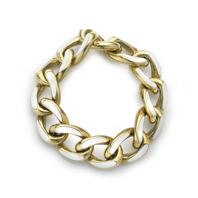 Enamel Gold Link Bracelet