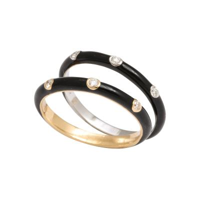 Enamel and Diamond Gold Stacking Rings