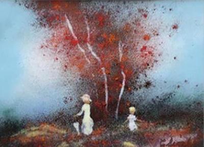 Enamel on Copper Landscape by Carol Simkin