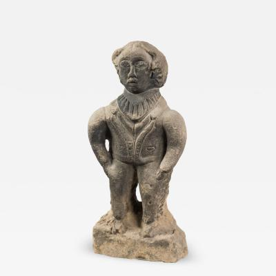 Engaging Early Folk Sculpture of a Man