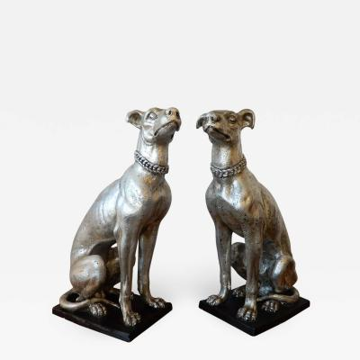England Pair of Large Art Deco Whippet Dogs