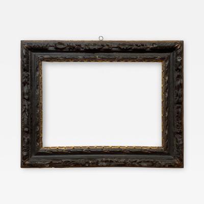 English 17th Century Ebonized Parcel Gilt Carved Leaf Lely Picture Frame