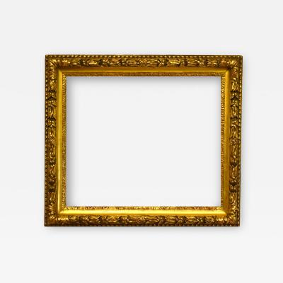 English 1840 Gilded Scoop Picture Frame with Laurel and Berry Motif
