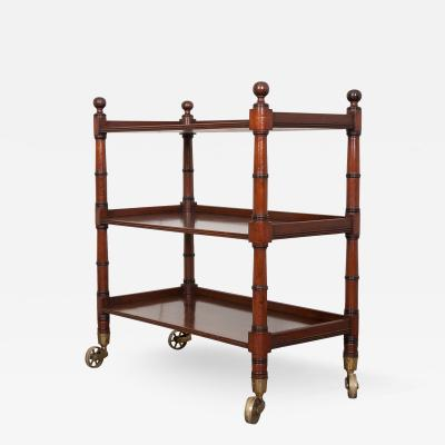 English 19th Century Faux Bamboo Mahogany Trolley