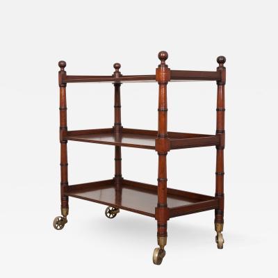 English 19th Century Faux Bamboo Mahogany Trolley