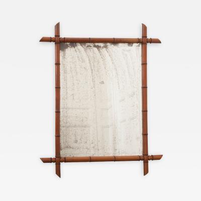 English 19th Century Faux Bamboo Pine Mirror