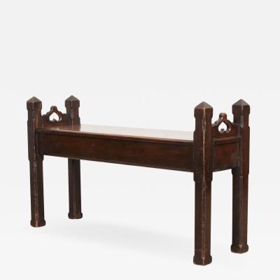 English 19th Century Gothic Revival Oak Bench