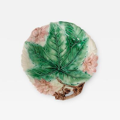 English 19th Century Majolica Floral Bowl