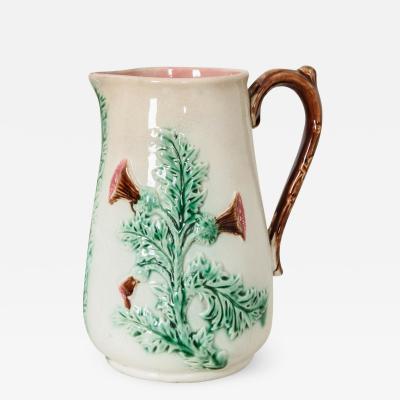 English 19th Century Majolica Thistle Vase