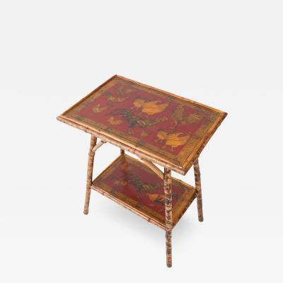 English 19th Century Painted Red Rooster Decoupage Table