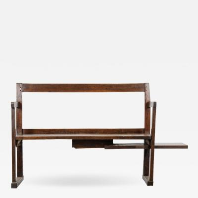 English 19th Century Primitive Bench with Sliding Side Table