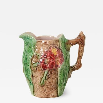 English 19th Century Small Majolica Floral Pitcher