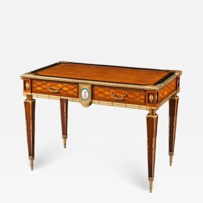 English 19th Century Trellis and Dot Inlaid Writing Table