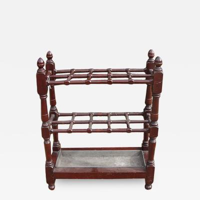 English 19th c Mahogany Gridiron Stick Stand