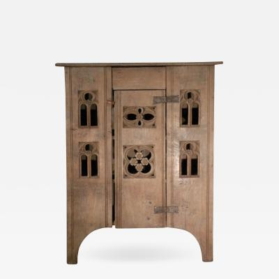 English 19th century Gothic Style Oak Food Cabinet