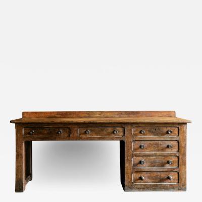 English 19thC Oak Church Prep Table Counter