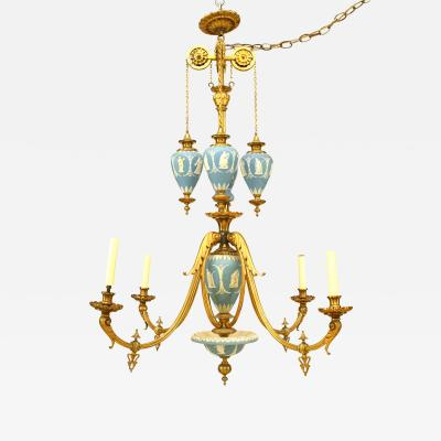 English Adam Style 19th Cent Wedgwood Chandelier