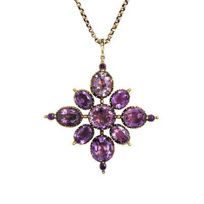 English Antique Amethyst and Gold Pendant on Chain