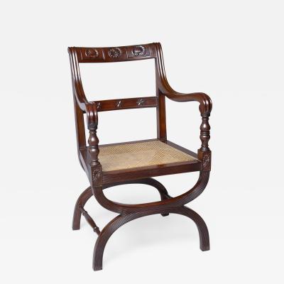English Antique Carved Mahogany X Frame Armchair Circa 1880