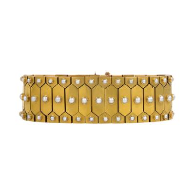 English Antique Gold and Half Pearl Bracelet