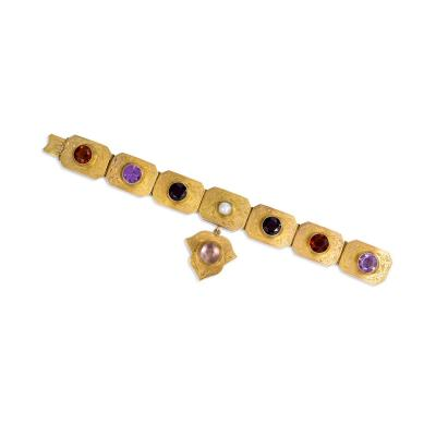 English Antique Gold and Multi Gemstone Plaque Bracelet